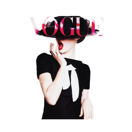 vogue cover poster germany 2010 red lips cover print