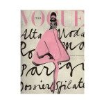 Vintage Vogue Cover Lady in Pink