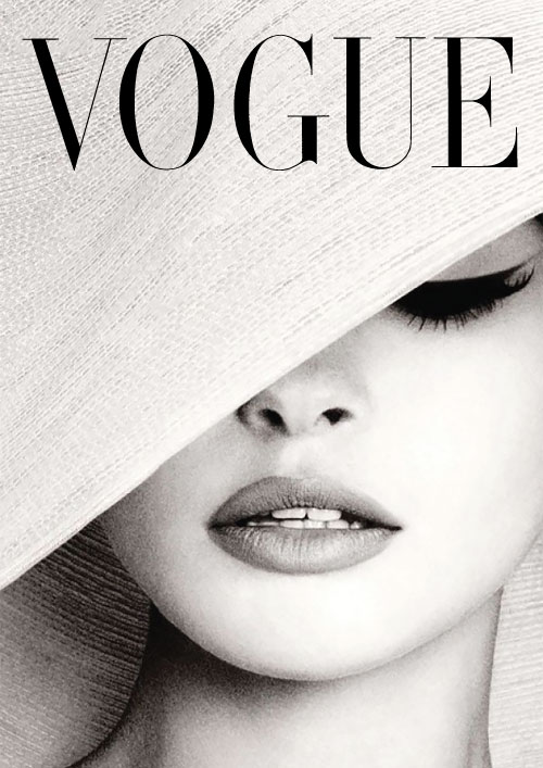 Vogue cover white hat photography advertisement print poster canvas french vintage art deco