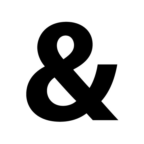 ampersand and amp minimalist print poster black and white