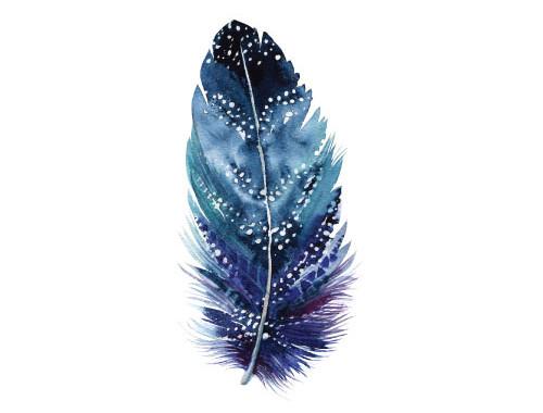 Missy Joelle Feather Blue Pastel Watercolour Scandi Art