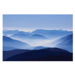 Blue Calm Misty Mountains Art Print Poster Canvas
