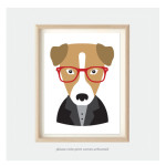 hipster dog art print for kids bedroom or nursery