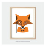 fox art print for kids bedroom or nursery