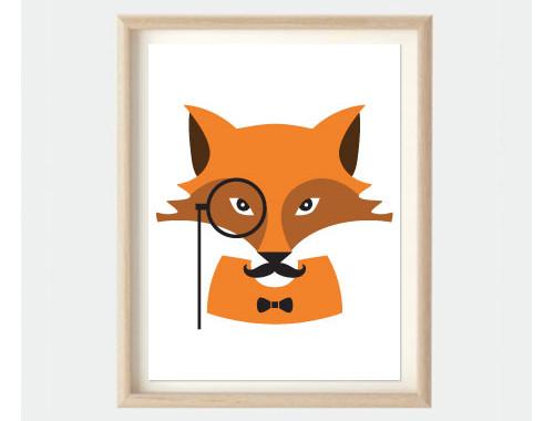 fox art print for kids bedroom or nursery - Kids Animal Prints