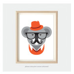 hipster koala animal print for kids room