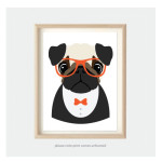 hipster pug art poster kids bedroom print
