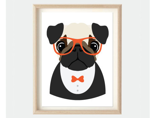 hipster pug art poster kids bedroom print - Animal Pictures For Kids To Print