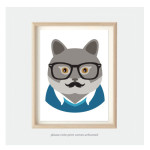 kids animal art for bedroom or nursery korat cat