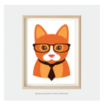kids nursery art animal prints orange cat