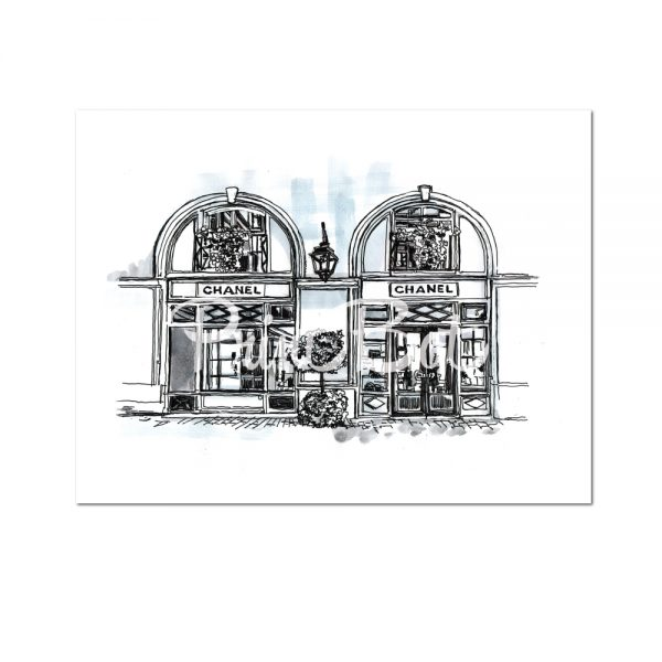 chanel boutique store in paris illustration watercolour blue hue unframed print poster art. Black Bedroom Furniture Sets. Home Design Ideas