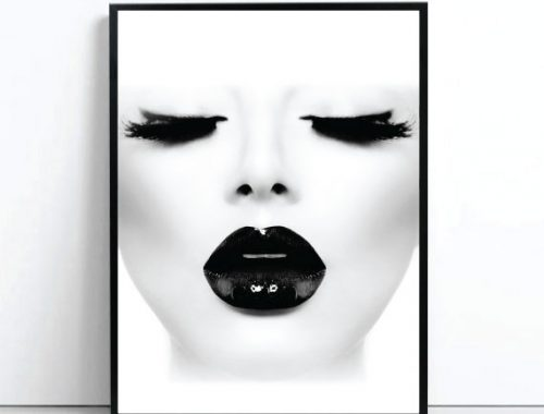 the black lady poster scandi print poster in monochrome