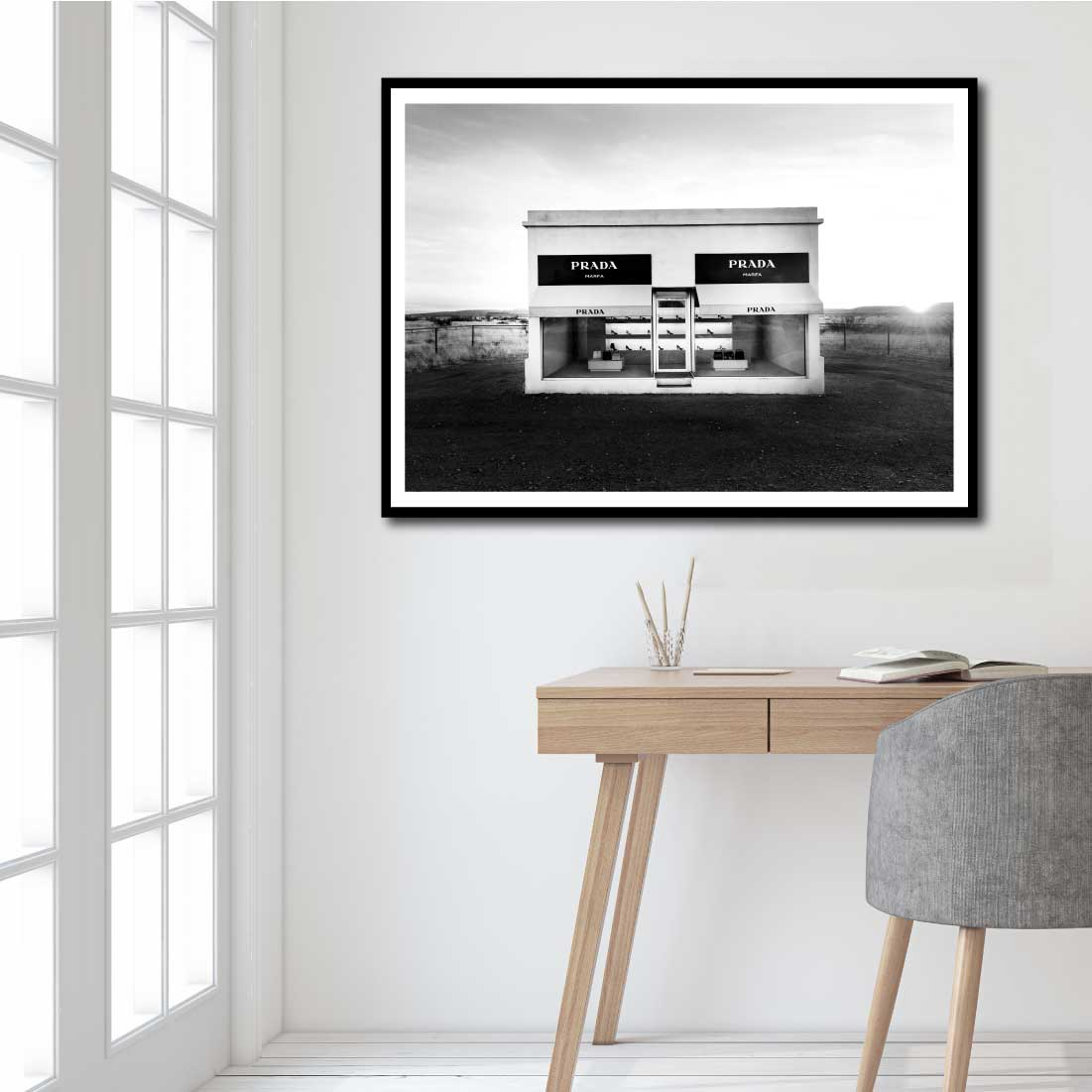 prada marfa store art print poster desert mall art print like ronnie and georgia s studio. Black Bedroom Furniture Sets. Home Design Ideas