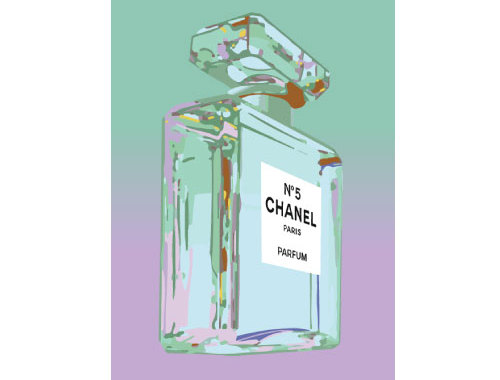 Purple Teal Chanel No 5 No5 Perfume Bottle Pop Art Ad Adver Print Poster Or Canvas By Andy Warhol