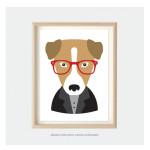 hipster dog art print for kids bedroom or nursery