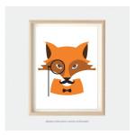 fox art print for kids bedroom or nursery