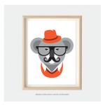 hipster koala animal print for kids room