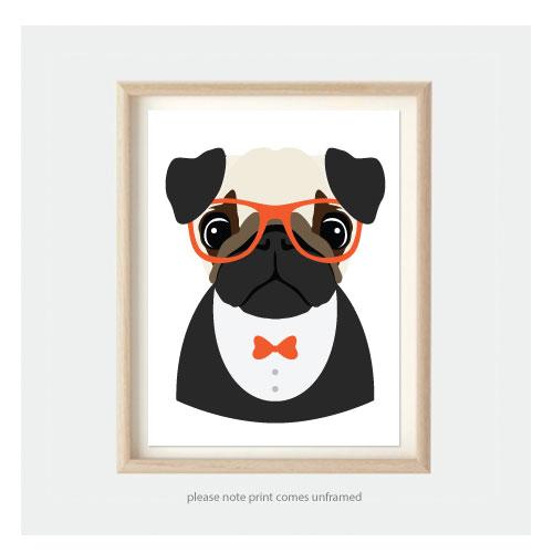 Pug Dog Kids Pop Art Kids Animal Prints For Nursery Or