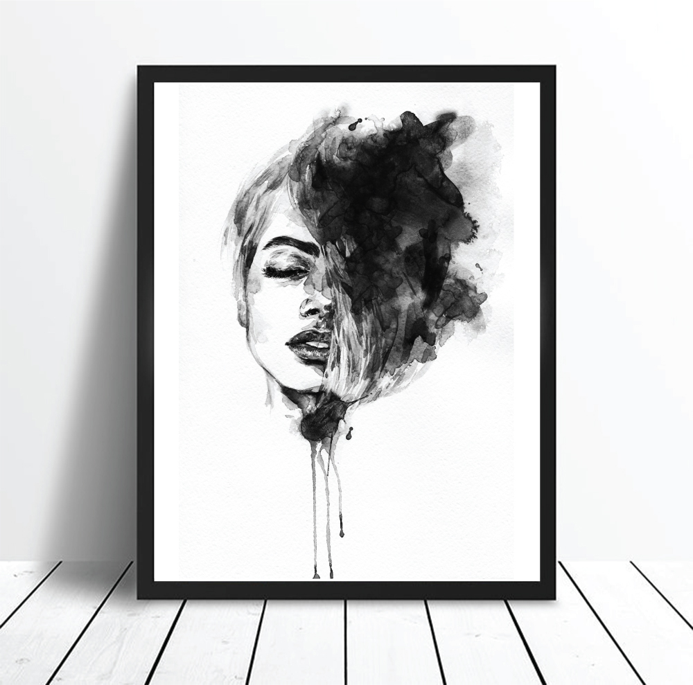 The dreamer watercolour black and white scandi woman print poster dreamer unframed print poster art canvas scandinavian art