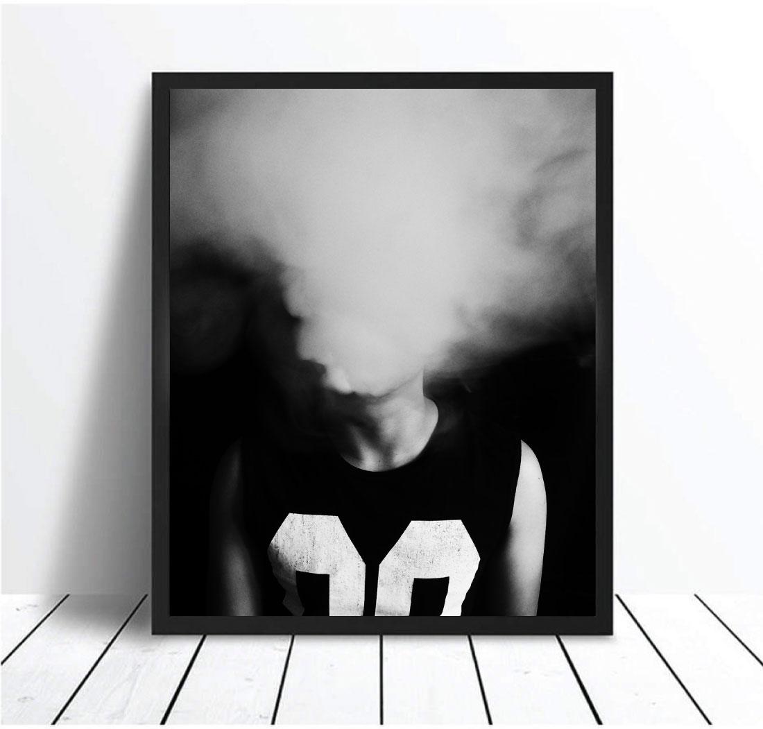 White smoke smoking fog white smoke monochrome black and white wall art print poster canvas